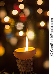 new year - New year festival, Buddhist monk fire candles to...