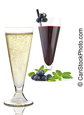 Blueberry juice with fruit  and champagne on white
