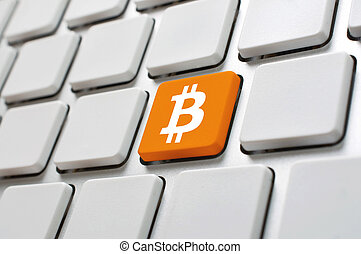 Bitcoin symbol on computer keyboard - Bitcoin symbol on...