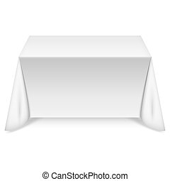 Rectangular table with white tablecloth. Vector...