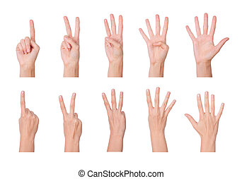 One to five fingers count signs isolated over white...