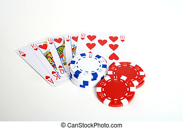 winning hand - pokerchips and playing cards