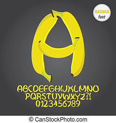 Yellow Banana Alphabet and Digit Vector