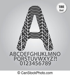 Tire Print Alphabet and Digit Vector
