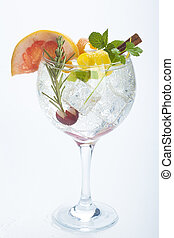 salad fruit gin tonic isolated over white background