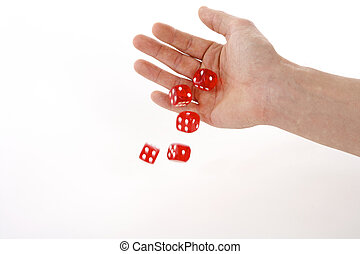 rolling dice - five red dice