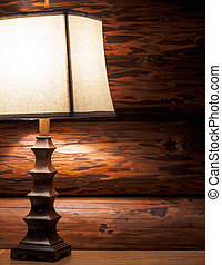 Lamp in log home