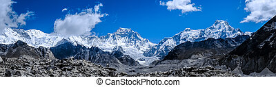 Beautiful snow-capped mountains against the blue sky....