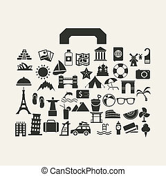 Vector travel suitcase with many icon