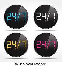 24/7 Icons - 24/7 Digital icons, vector eps10 illustration