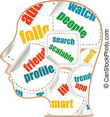 social media words on man head - internet concept
