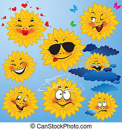 Set of cute cartoons of sun with different expressions and...