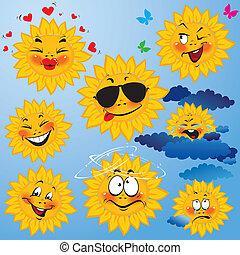 Conjunto, lindo, caricaturas, sol, diferente, expresiones,...