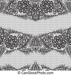 Black Lace seamless pattern with flowers on white background  - fabric design