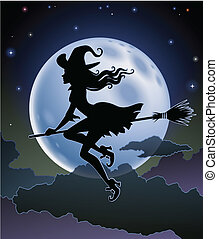 beautiful witch flying - Silhouette of a beautiful witch...