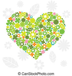 Green Heart Made of Flowers