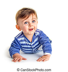 Baby looking up while smilling on white background