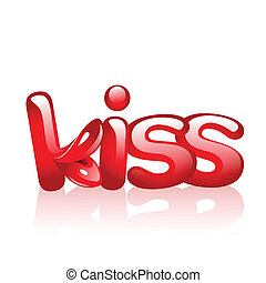 word kiss with lips in it - Vector illustrations of the word...