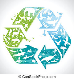 Recycling symbol with animals - Illustration of a recycling...