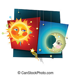 Sun and moon - Happy Decorative Collage of a Sun and Moon