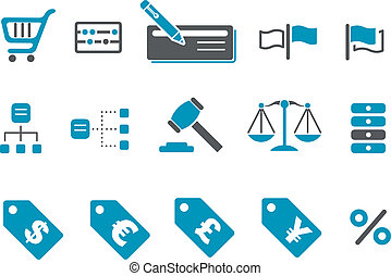Money icon set - Vector icons pack - Blue Series, money...