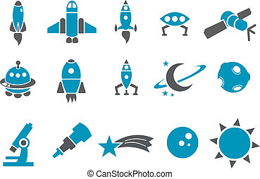Space icon set - Vector icons pack - Blue Series, space...