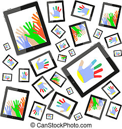 hands on tablet touch computer set on white background