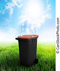 Black And Brown Recycle Bin Ecology Concept With Landscape...