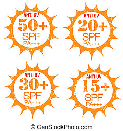 Set of Anti-UV stamps - Set of stamps with Anti-UV 50+, 20+,...