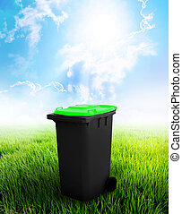 Black And Green Recycle Bin Ecology Concept With Landscape...