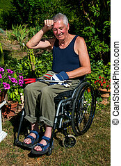 jardinería, sílla de ruedas