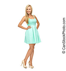 young woman in blue dress and high heels - beauty, fashion...