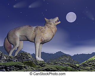 Howling wolf - 3D render - One wolf howling at full moon by...
