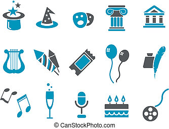 Entertainment Icon Set - Vector icons pack - Blue Series,...