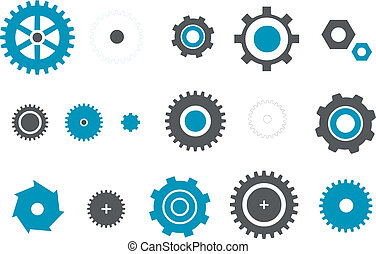 Gears icon set - Vector icons pack - Blue Series, gear...