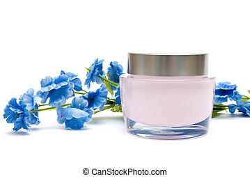 moisturizer cream and flower