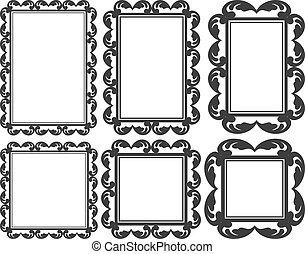 vintage frame - set of isolated frames - rectangular and...