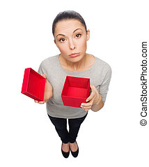 disappointed asian woman with empty red gift box -...
