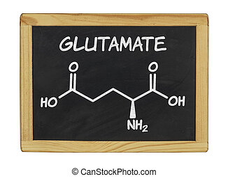 chemical formula of glutamate on a blackboard