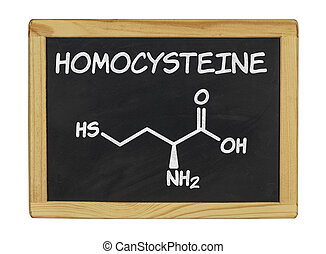 chemical formula of homocystein on a blackboard