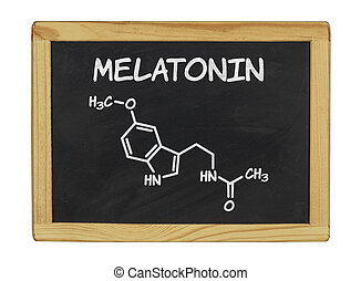 chemical formula of melatonin on a blackboard