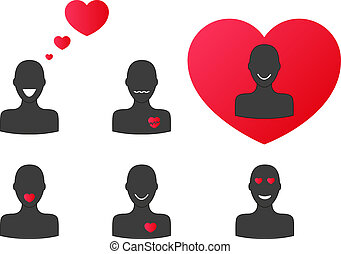 Silhouettes in love - Collection of 6 silhouettes with...