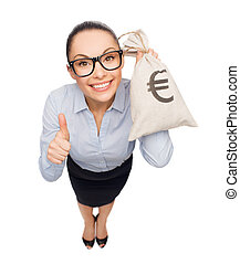 happy businesswoman holding money bag with euro - business,...