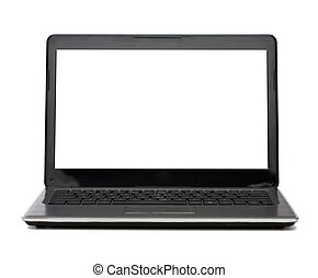 laptop computer with blank white screen - technology and...