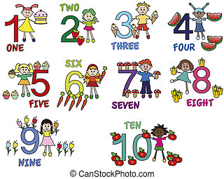 numbers - illustration of numbers with funny children