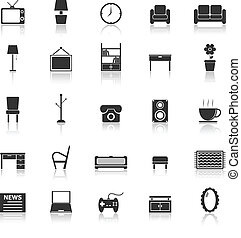Living room icons with reflect on white background, stock...