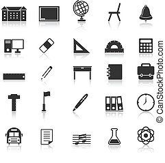 School icons with reflect on white background, stock vector