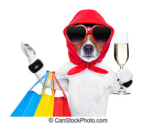 shopaholic diva dog - diva dog shopping like a pro , holding...