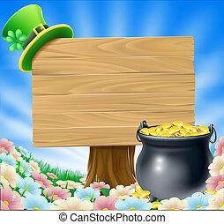 St Patricks Day Sign - A St Patricks Day concept; pot of...
