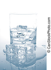 Mineral water with ice cubes - Glass of fresh mineral water...